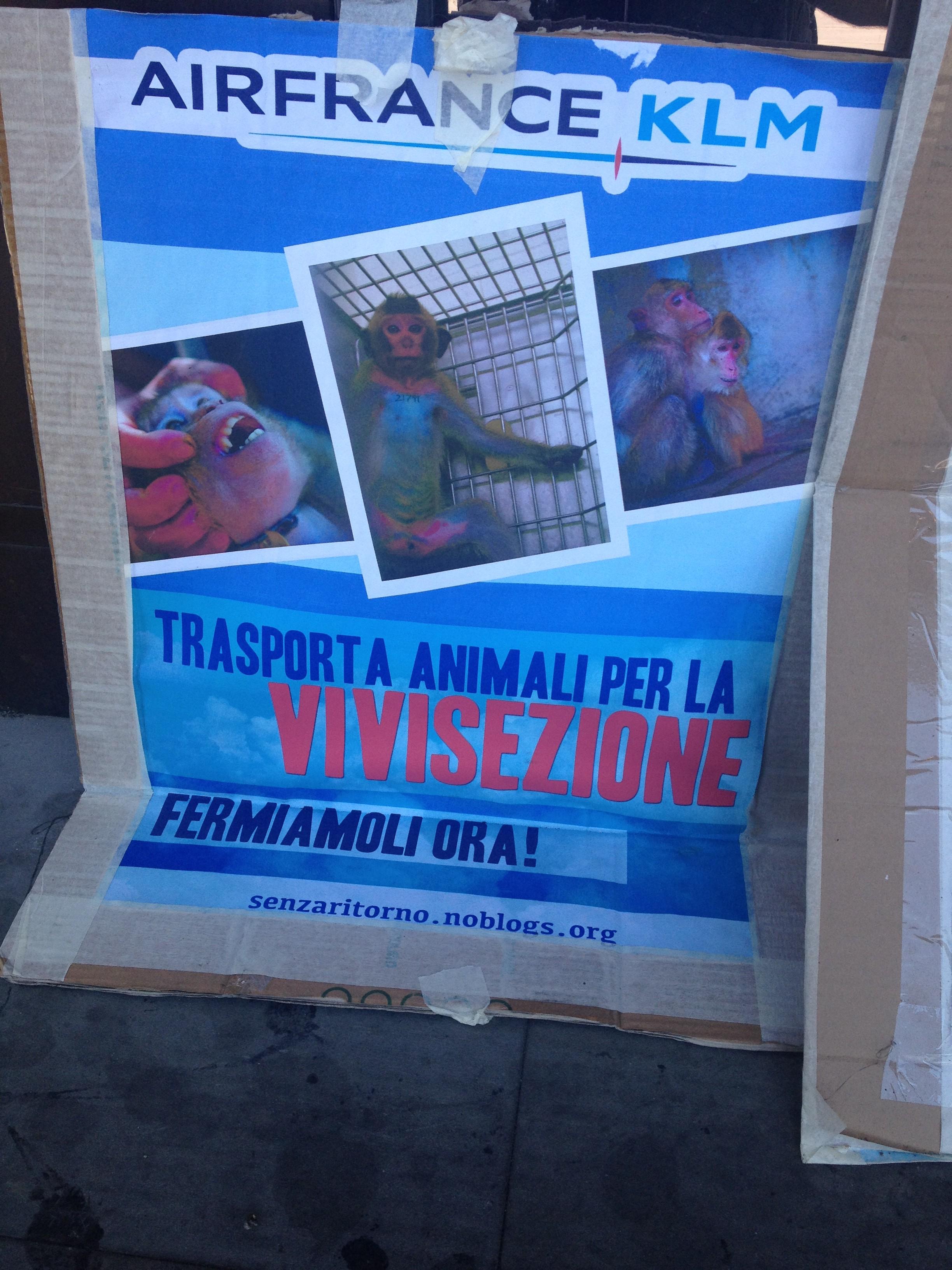 Cartello contro Air France - KLM ed il rasporto di animali per la vivisezione